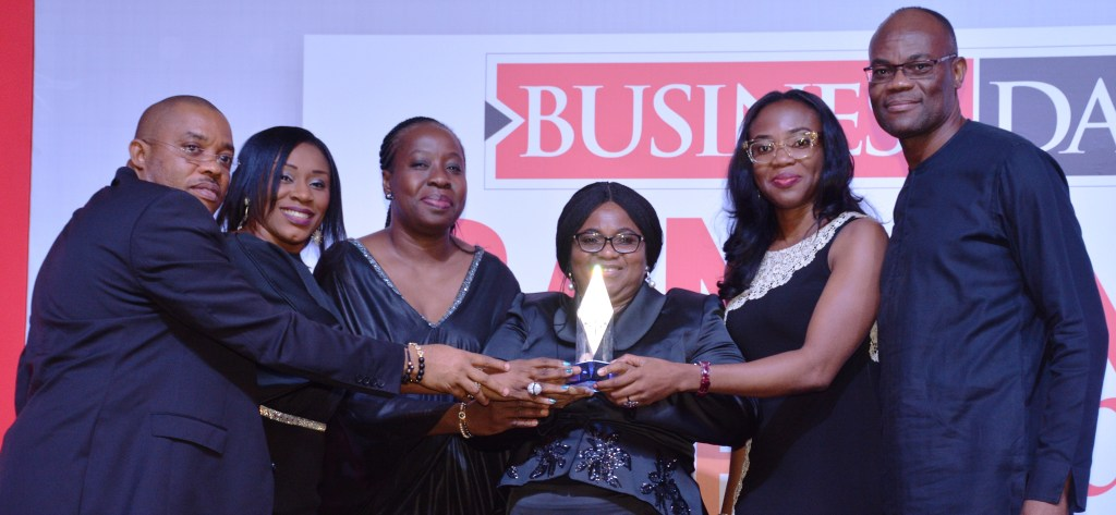 L – R:  Alex Alozie, Head, Operations Directorate; Uche Ben – Uzoebo, Head, Agency & Merchant Services; Funke Opeke, Founder, CEO, Main One Cable; Caroline Anyanwu, Deputy Managing Director; Uzoma Uja, Company Secretary; and Chris Ofikulu, Head, Lagos & West Directorate, all of Diamond Bank Plc at the 2017  Businessday Banking Awards held in Lagos recently where Diamond Bank received the awards of  the Best Bank in Financial Inclusion and Best Mobile App in Nigeria.