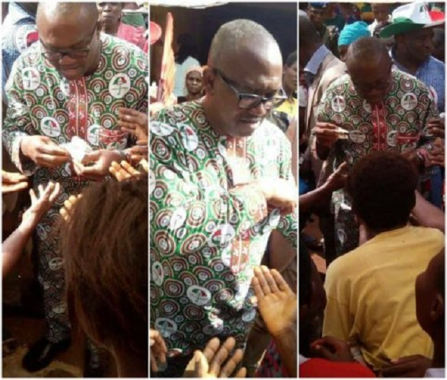 Former Governor Peter Obi caught sharing money ahead of Anambra governorship election