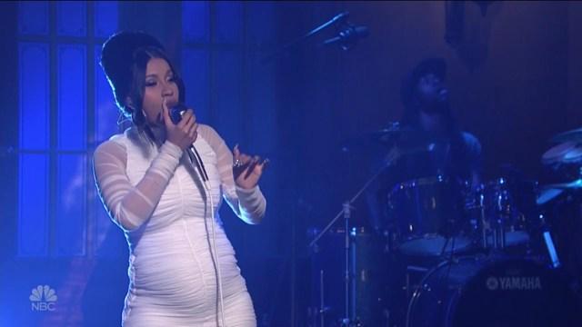 Photo of Pregnant Rapper Cardi Performing.