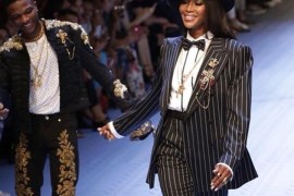 Wizkid and Naomi Campbell walk Dolce And Gabbana runway