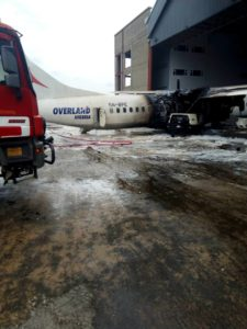The damaged Overland aircraft at the Murtala Muhammed Airport, Lagos