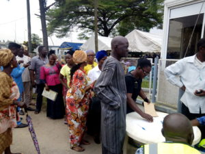 Former workers of the defunct Nigeria Airways Ltd. on queue for verification and payment of their N22. 6bn entitlements at the Sky Care Catering Complex, Murtala Muhammed Airport, Ikeja on Monday.