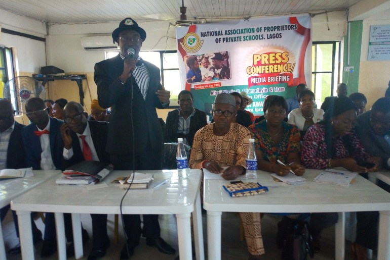 Mr Wasiu Adumadeyin, President, National Association of Proprietors of Private Schools (NAPPS), Lagos Chapter and members of his executives addressing Newsmen in Lagos.