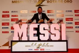 Lionel Messi with his Golden Shoes