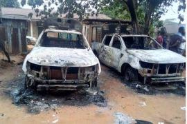 hoodlums burnt police station