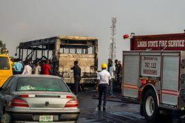 BRT bus burnt