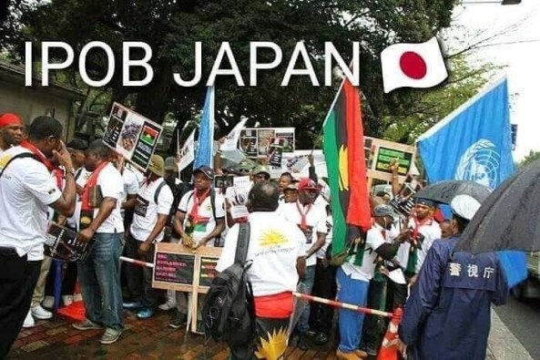 Photos: IPOB protesters await Buhari in Japan