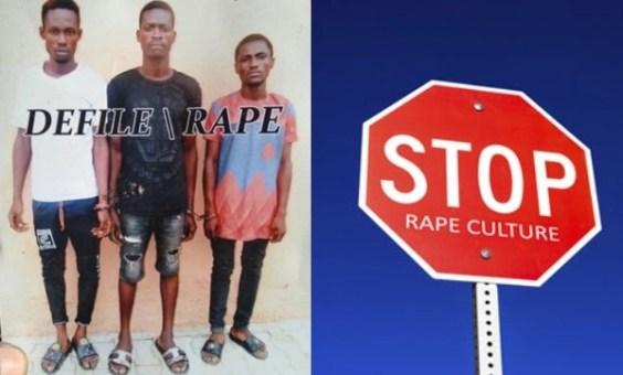 Three students rape minor on her period