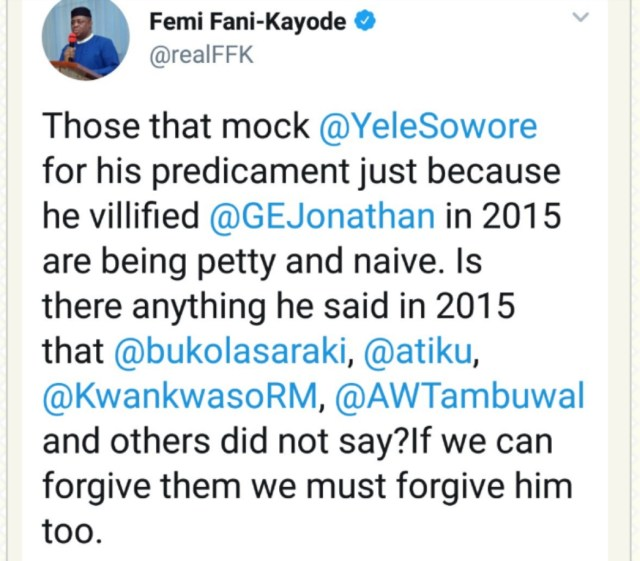 FFK's tweet About Sowore