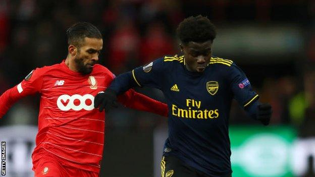 Bukayo Saka shines for arsenal in Europa League