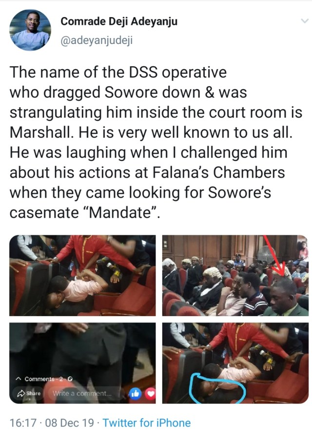 EXPOSED: See the DSS operative who knocked Sowore down in Courtroom