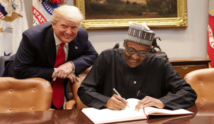 Nigerian president Buhari with US President Donald Trump