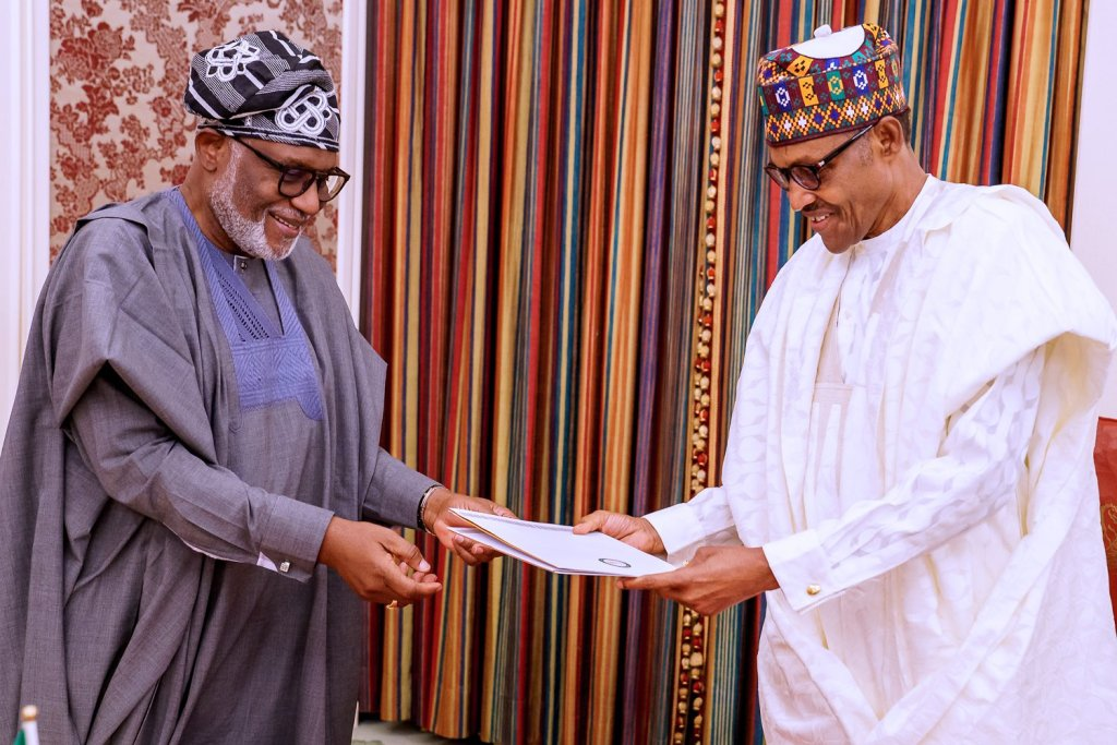 Amotekun: Buhari welcomes Akeredolu in Aso Rock (Photos)