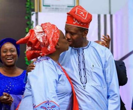 Valentine: Pastor Adeboye shares scintillating kiss with wife