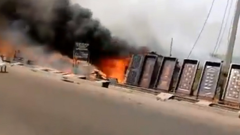 BREAKING: Fire Engulfs Furniture stores in Ajah