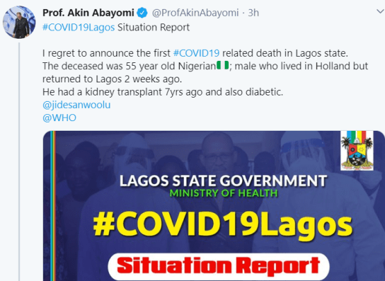 Lagos Commissioner for Health confirms death of COVID-19 Patient in LUTH
