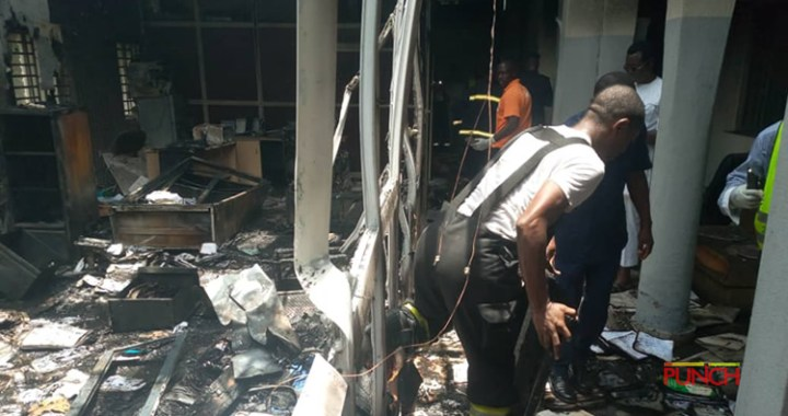 See Photos Of INEC Headquarters Fire Outbreak
