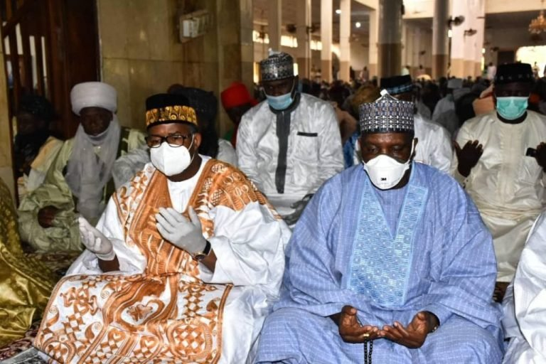 Hours after COVID-19 Recovery, Bauchi Gov spotted in Crowded Juma'at service