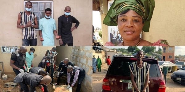 The Suspects, The Late Widow and Officials exhuming her remains from a Septic tank