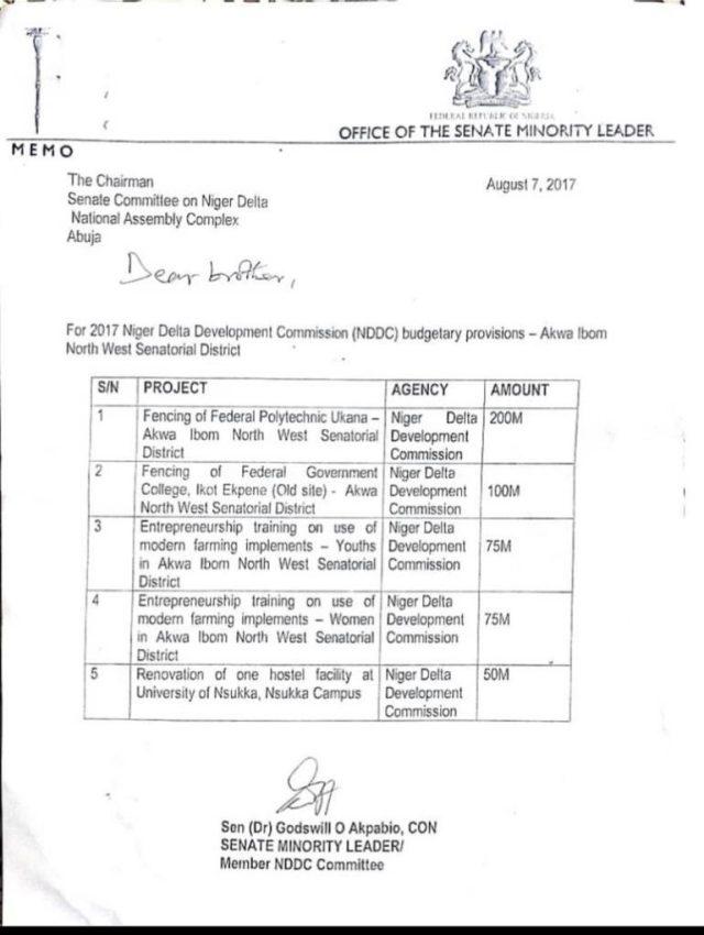 Akpabio got N300m NDDC Fence Contract, executed nothing - Sen Nwaboshi