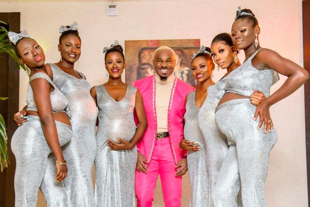 Americans baffled as Nigerian Play boy attends wedding with 6 pregnant Girlfriends
