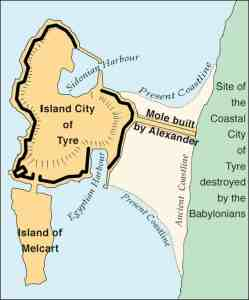 Island City of Tyre - Map