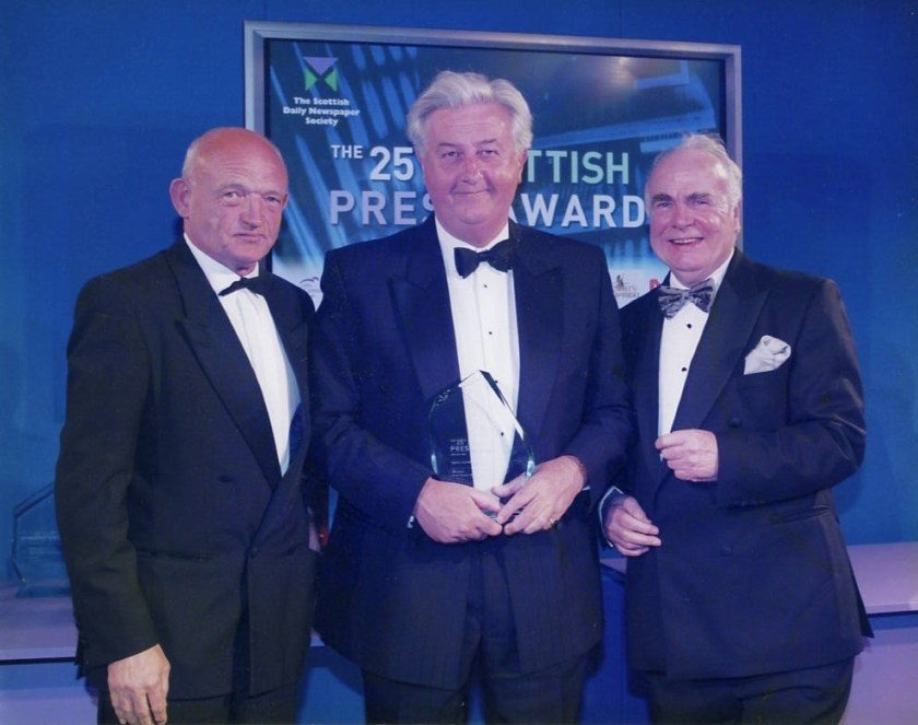 Bryan Cooney (centre) with Charles Wilson and Hugh McIlvanney