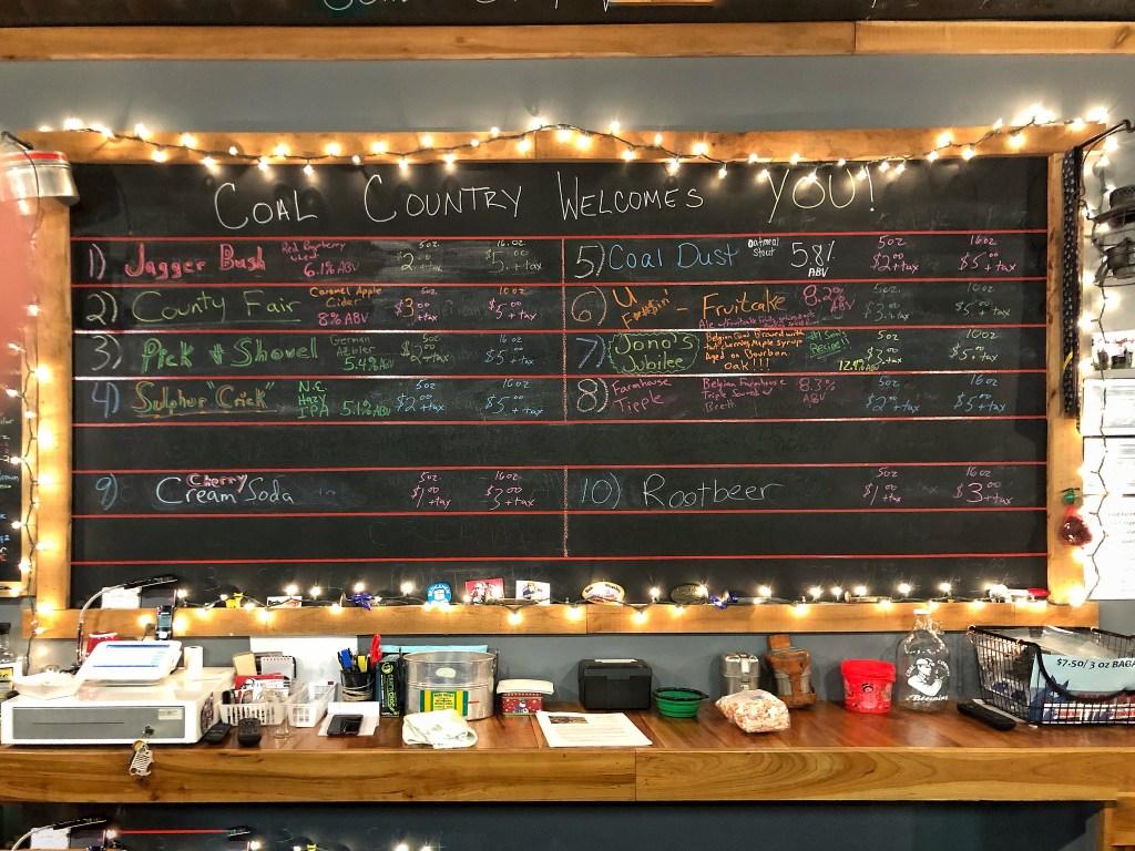 Beer menu blackboard at Coal Country Brewing