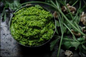 parsley pesto in metal bowl