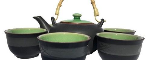 Service à thé à 6 tasses avec anse bambou