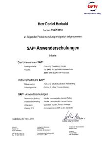 Teilnahme Schulung SAP