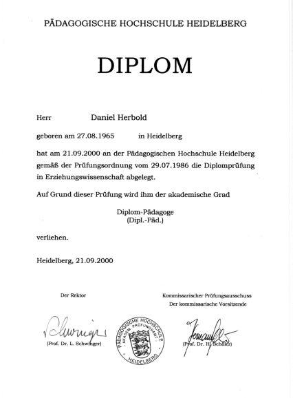 Diplomurkunde Dipl.-Päd. (Medien)
