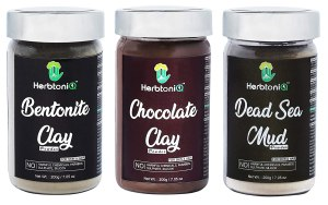 HerbtoniQ Organic Bentonite Clay Powder, Chocolate Clay Powder And Dead Sea Mud For Face Pack And Hair Pack (Pack Of 3, 200g x 3 = 600Gm)