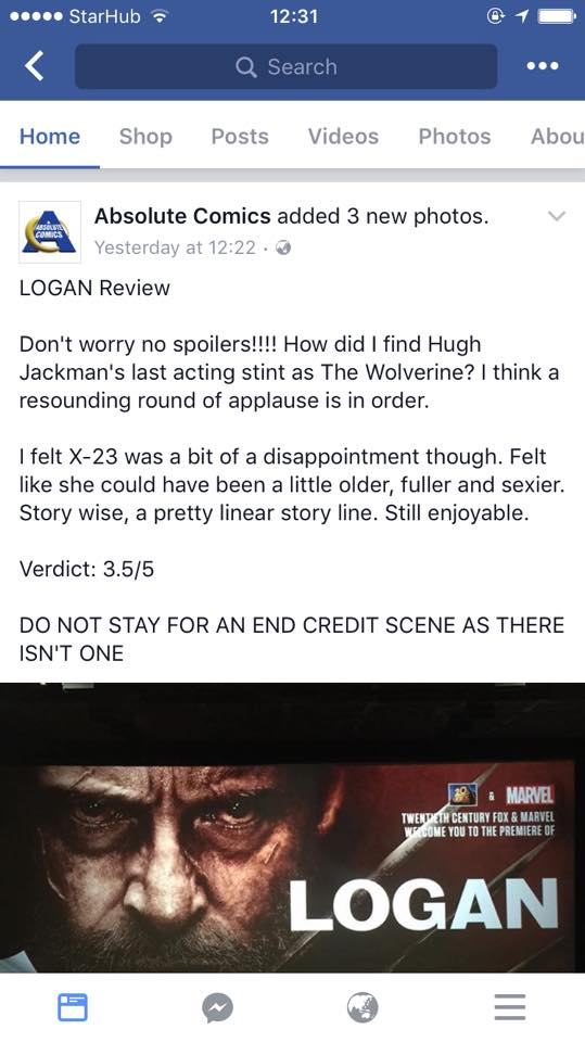 absolute comics logan review singapore twitter trending