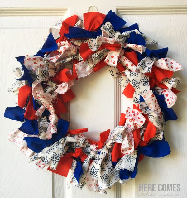 Patriotic Fabric Wreath Here Comes The Sun