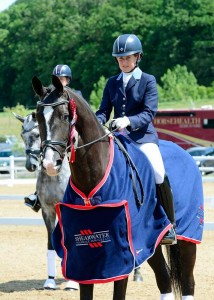 A score of 91.000% for Lucy Cartwright and San Marco wins them the Five-year-old Shearwater Young Horse Championship. Photo Kevin Sparrow