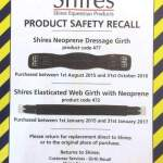 Shires Girth Product Recall!