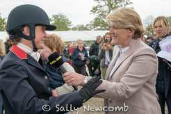 Piggy being interviewed by Clare Balding