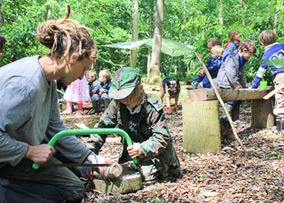 using tools such as saws for bushcraft skills