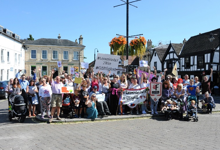 Local traders and memers of the public supporting Leominster's bid. Photo: James Maggs.