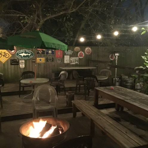 Petrol Stations backyard seating with fire pit