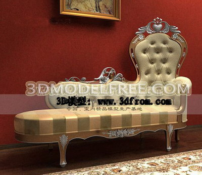 European Style Luxury Chaise Lounge 3D Model Free Download