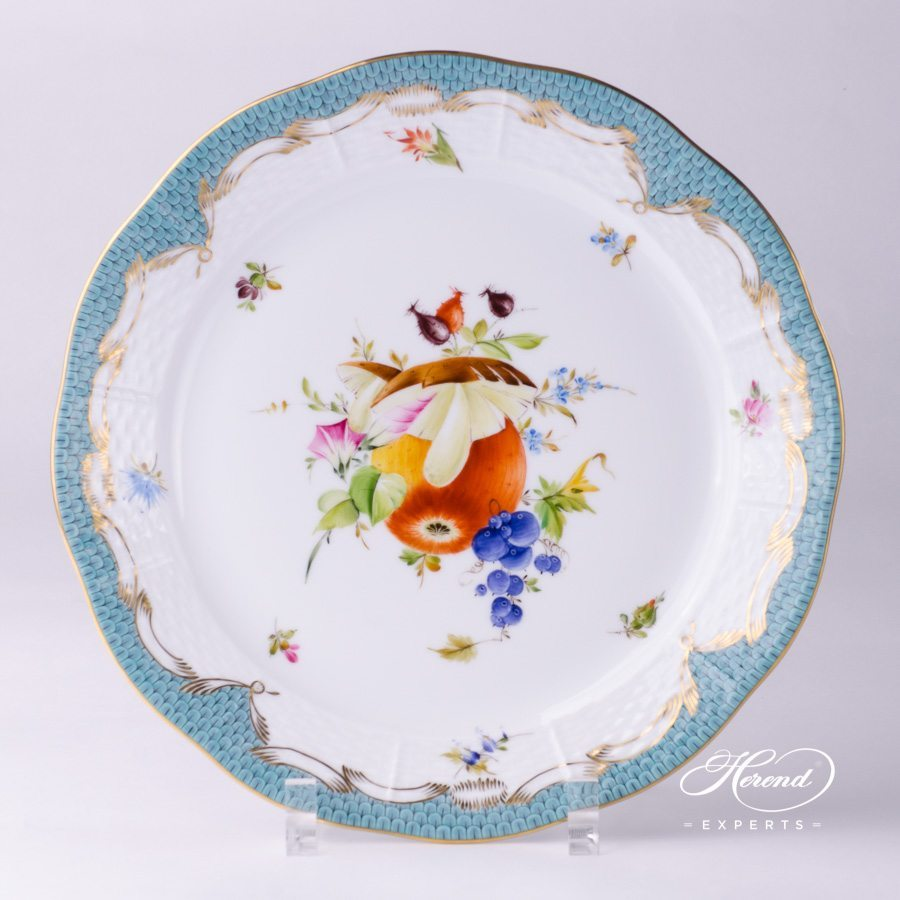 Dinner Plate Fruits With Turquoise Fish Scale Herend