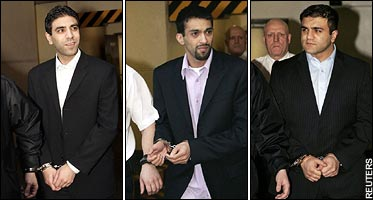 The Pakistani Muslim killers of Kriss Donald -- LR: Zeeshan Shahid, Faisal Mushtaq, Imran Shahid