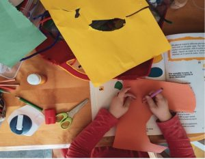 Child doing paper crafts