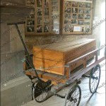 Coffin on a metal frame