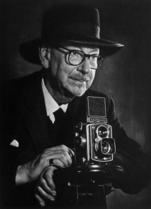 Edward Chambré Hardman with his Rolliflex camera. Pic National Trust