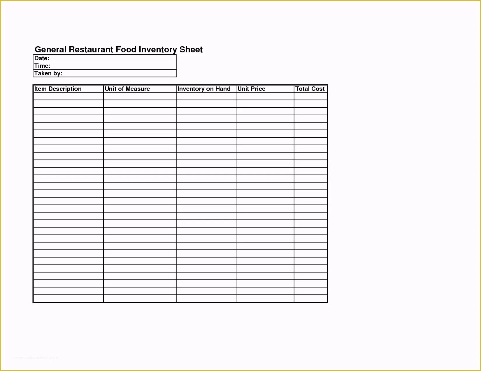 Free Restaurant Inventory Templates Of Sample Inventory