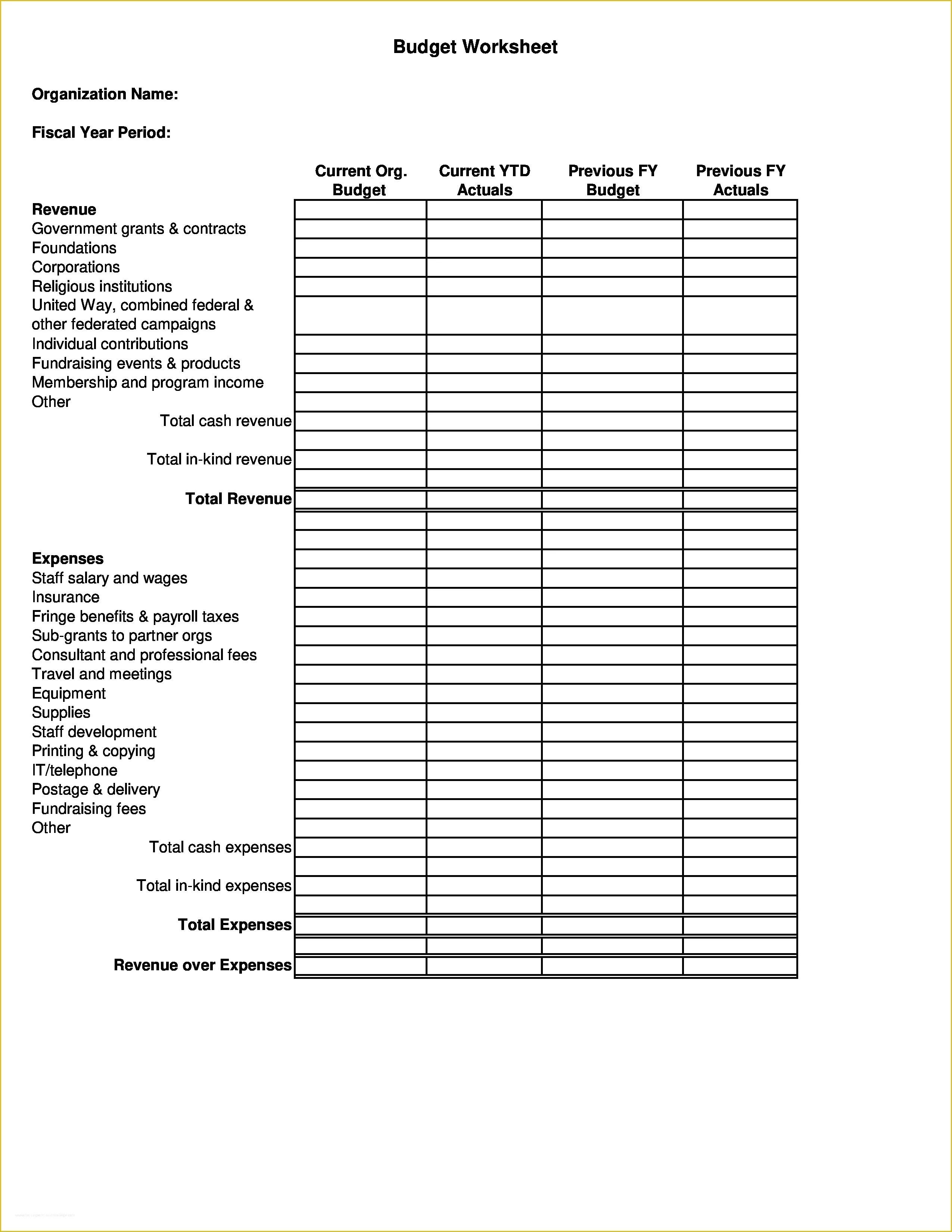 Free Budget Template For Non Profit Organization Of Non