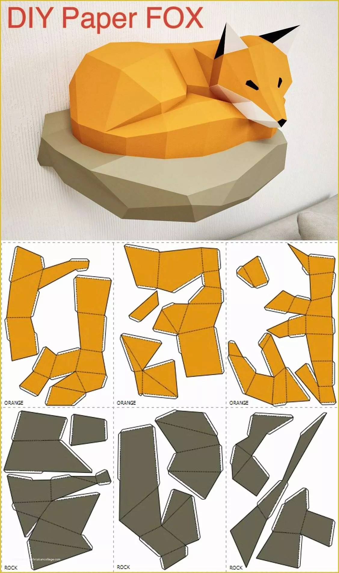 Free Papercraft Templates Of Papercraft Fox On Rock